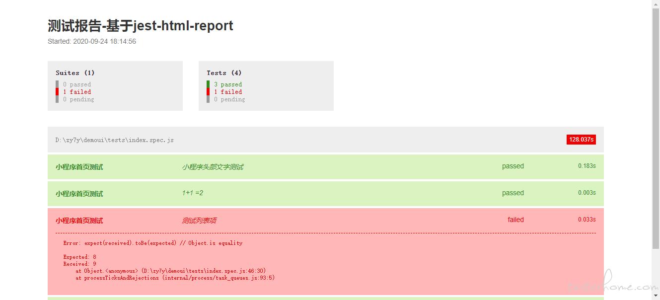 miniprogram-automator ,用jest-html-report集成的报告